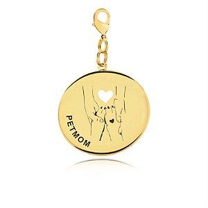 Chaveiro PetMom com patas de cachorro folheado em ouro 18k