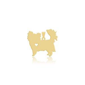 Pingente Chihuahua pelo longo folheado em ouro 18k