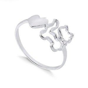 Anel gato com pedras de zircônia na coleira e coração em prata 925