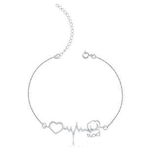 Pulseira batimento cardíaco cachorro em prata 925