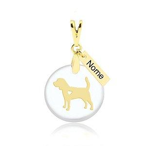 Pingente acrílico raça Beagle nome personalizado folheado em ouro 18k