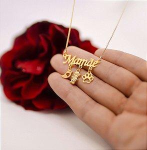 Colar Mamãe com pingentes variados folheado em ouro 18k