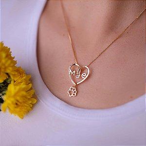 Colar coração Mãe com pingentes variados folheado em ouro 18k