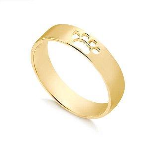 Anel aliança folheado em ouro 18K