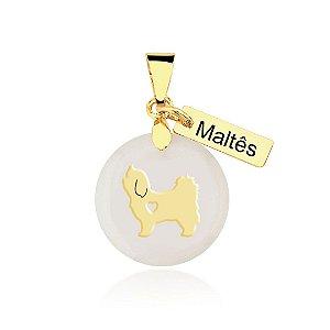 Pingente madrepérola Maltês folheado em ouro 18K
