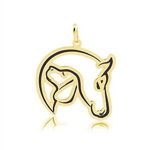 Pingente cavalo e cão folheado em ouro 18K