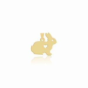 Pingente de Coelho pequeno folheado em ouro 18K