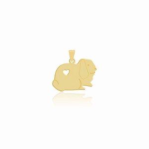 Pingente de Coelho simples folheado em ouro 18K