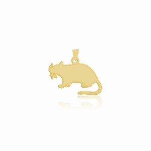 Pingente de Rato com bigode folheado em ouro 18K