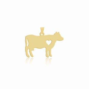 Pingente de Vaca folheado em ouro 18K