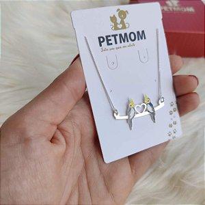 Colar personalizado poleiro com pets coloridos em prata 925