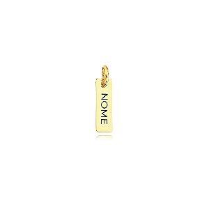 Pingente plaquinha de nome personalizada avulsa folheada em ouro 18k