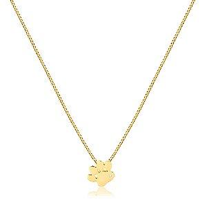 Colar com pingente de Pata com pedra de zircônia folheado em ouro 18