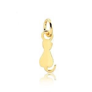 Pingente de gato costas folheado em ouro 18