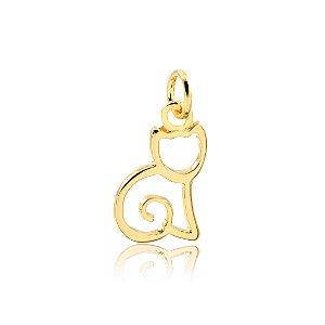 Pingente de gato sentado vazado folheado em ouro 18k