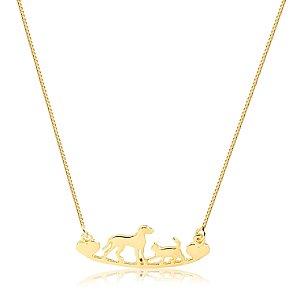 Colar canga cachorro e gato  folheado em ouro 18