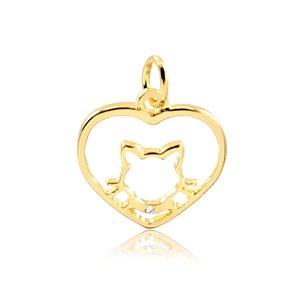 Pingente coração com gato folheado em ouro 18k