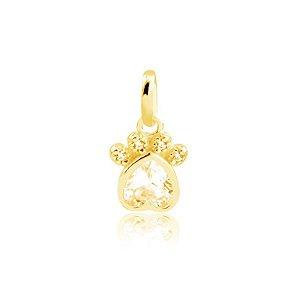 Pingente de coração pata com pedra e zircônias folheado em ouro 18k