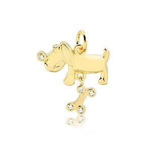 Pingente de cachorro com osso móvel folheado em ouro 18k