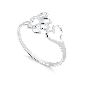 Anel aberto pata e coração em prata 925