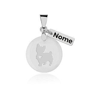Pingente em madrepérola nome personalizado (qualquer animal padrão de raça, espécie e nome)