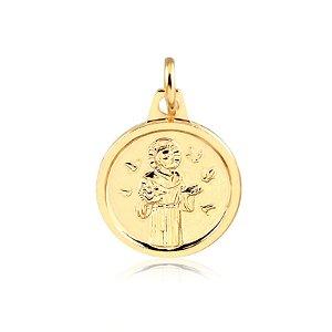 Pingente medalha de São Francisco folheado em ouro 18