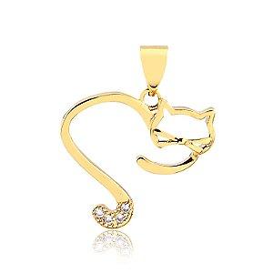 Pingente coração aberto de gato folheado em ouro 18