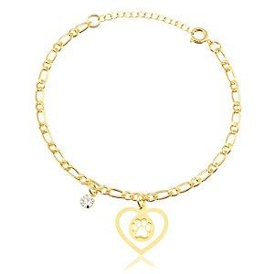Pulseira com pingente de coração com pata e pedra de zircônia folheado em ouro 18k