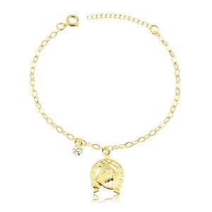 Pulseira com pingente ferradura e cavalo com pedra de zircônia folheado em ouro 18k