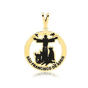 Pingente São Francisco de Assis braços abertos com animais folheado em ouro 18k