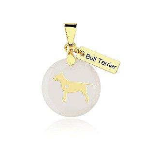 Pingente madrepérola Bull Terrier folheado em ouro 18K