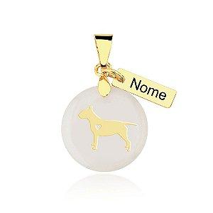 Pingente madrepérola Bull Terrier nome personalizado folheado em ouro 18k