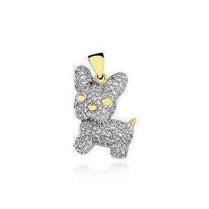 Pingente cachorro cravejado de zircônia folheado em ouro 18k