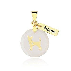 Pingente madrepérola raça Chihuahua nome personalizado folheado em ouro 18k