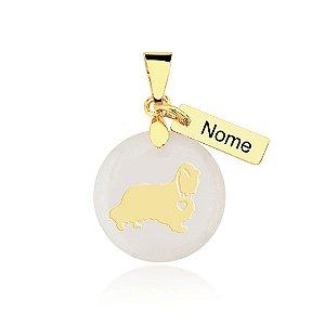 Pingente madrepérola raça Cocker nome personalizado folheado em ouro 18k