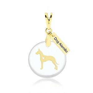 Pingente acrílico raça Dog Alemão folheado em ouro 18k