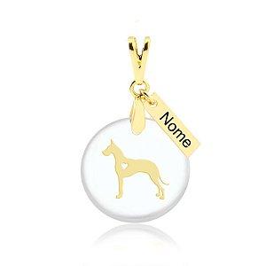 Pingente acrílico raça Dog Alemão com nome personalizado folheado em ouro 18k