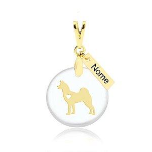 Pingente acrílico raça Husky com nome personalizado folheado em ouro 18k