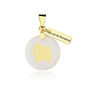 Pingente madrepérola Lulu da Pomerânia folheado em ouro 18k