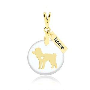 Pingente acrílico raça Poodle com nome personalizado folheado em ouro 18k