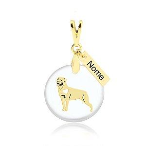 Pingente acrílico raça Rottweiler nome personalizado folheado em ouro 18k