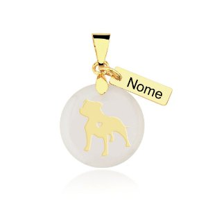 Pingente madrepérola Staffordshire Bull Terrier nome personalizado folheado em ouro 18k