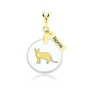 Pingente acrílico raça Bengal (Gato de Bengala)nome personalizado folheado em ouro 18k