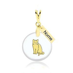 Pingente acrílico de gato da raça British Shorthair nome personalizado folheado em ouro 18k