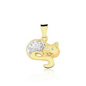 Pingente Gato com corpo e olhos cravejado folheado em ouro 18k