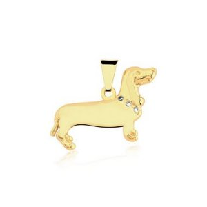 Pingente Dachshund (Salsicha) com coleira em zircônia folheado em ouro 18k