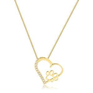 Colar coração com pata e zircônias folheado em ouro 18k