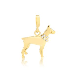 Pingente raça Doberman com coleira de zircônias folheado em ouro 18k