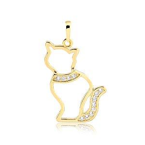 Pingente de gato com zircônias folheado em ouro 18k