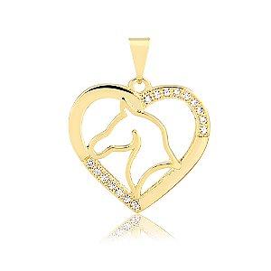 Pingente coração com cavalo e zircônias folheado em ouro 18k